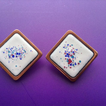 Rebajes Copper Enamel Earrings 50s Splatter Mid-Century Rare Signed White Blue Red Purple Jewelry Wearable Art Collectible Clips
