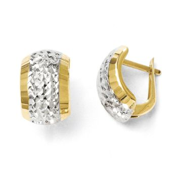 Diamond-Cut Hinged Earrings in 10k Yellow Gold & White Rhodium, 13mm