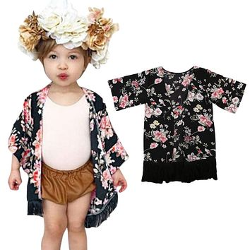 Spring flower 1pcs Fashion Kids Toddler Girls Casual Clothes Long Sleeve Tassel Floral print Adorable Cardigan Chiffon Coats