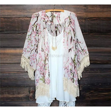 Stylish Women's Fashion Casual 3/4 Sleeve Cardigan Chiffon Floral Printed Long Loose Blouse Shirt [8833952524]