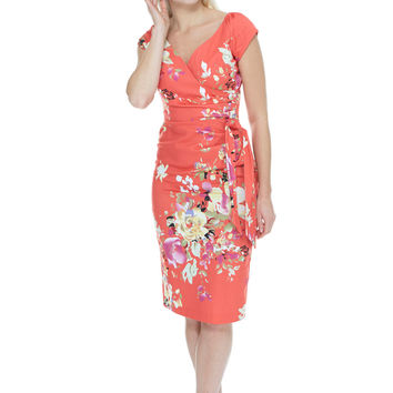 Seville Hourglass Coral Pencil Dress | The Pretty Dress Company