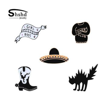 Trendy shshd Black Hat Boots Cartoon Cat Brooch Enamel Pins Clothes Badge Denim Jackets Decoration Lapel Pin for Women Fashion Jewelry AT_94_13