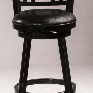 Fairfox Swivel Bar Stool - Black Wood Finish