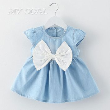 Baby Girls Bow Design Mini knot Dress Children Baby Summer Style Fashion Short Sleeve Party Dress Kids Clothes