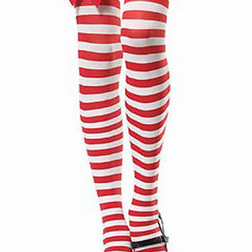 Atomic Candy Cane Thigh High Stockings with Double Bow