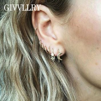 GIVVLLRY Punk Tiny Round Hoop Earrings for Women Creative Minimalist Gold Color Moon Star Hook Earrings Set Fashion Jewelry