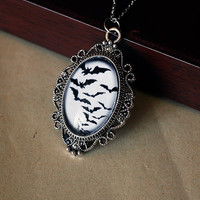 Gothic bats cabochon covered pendant by DevilsJewel on Etsy