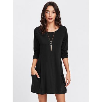 Double Pockets Shift Dress Black