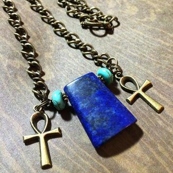 Lapis Lazuli Egyptian Ankh Goddess Necklace | Egyptian Cross Pendant | Egypt Key of the Nile | Isis Cleopatra | African Kemet Jewelry