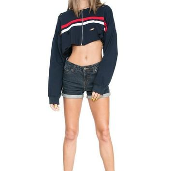Cropped Stripe Red and White Front Zipper Jacket - Navy