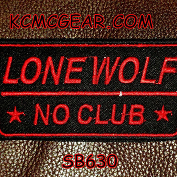 LONE WOLF NO CLUB Red on Black Small Badge Patch for Vest SB630