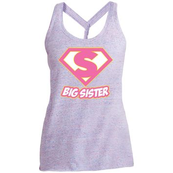 Big Sister Sis Superhero T Shirt - Super Hero Womens Gift-01 DM466 District Made Ladies Cosmic Twist Back Tank