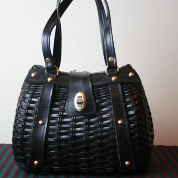 50off SALE vintage black wicker handbag by vtgvintage on Etsy