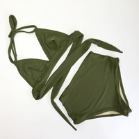 Olive retro swimsuit