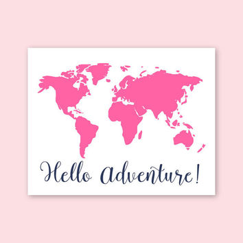 Baby Girl Nursery Art Pink Navy Nursery Modern Nursery Girls Nursery Decor Map of the World Pink wall decor Girls room decor Pink Playroom