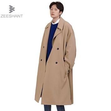 ZEESHANT Spring Autumn Winter Men's Fashion Casual Double Breasted Long Trench Coat Jacket Pea Coat Overcoat British Style
