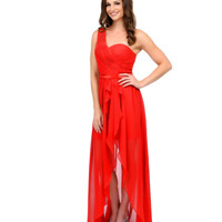 Unique Prom Exclusive Red One Shoulder Ruffled High-Low Chiffon Gown 2015 Prom Dresses
