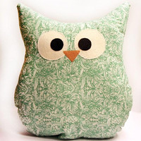 Owl Pillow - Green Floral - Orient Print - Large - Ready To Ship!