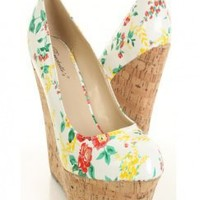 White Floral Print Patent Faux Leather.