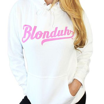 "Women's ""Blonduh"" Hoodie by Demi Loon (White)"