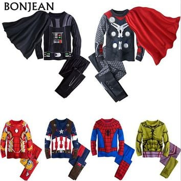 2017 Spring kids pajamas clothes for boys Hulk superhero Batman Iron Man costume Spiderman children sleeping wear clothing sets