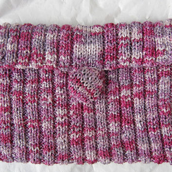 Purple hand knitted bag /knitted violet clutch / Violet purse / Bridesmaid knitted clutch / Party bag