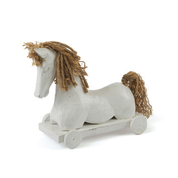 Horse Figurine (wood&twine in white)
