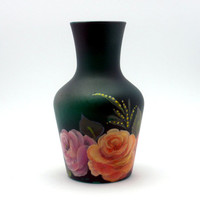 Painted Frosted Glass Vase and Roses by PaintedDesignsByLona
