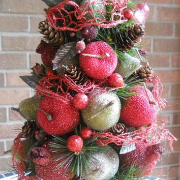 Christmas Tree Centerpiece, Glistening Beaded Fruit, Sugared Fruit, Tabletop Tree, Christmas Arrangement, Fruit, Pine Cones, Pearlized Fruit
