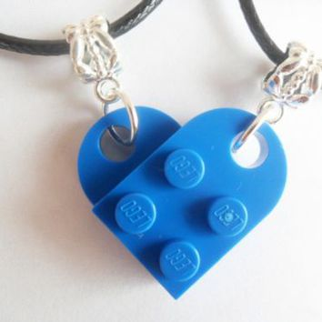 Blue Lego Couple Heart His and Her Necklace Set, Lego Heart Necklace Set | eBay