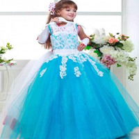 2016 Colorful Lace Flower Girl Dresses Tulle Ball Gown Children Wedding Party Lovely Little Girl Pageant Dresses First ommunion