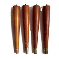 Mid Century Furniture Legs, Tapered Wood, Brass Tips, Set of Four, Replacement, Restoration