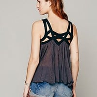 Free People Womens FP ONE Latticed Lurex Tank