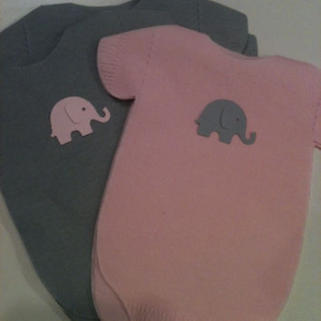 "Pack of 30 Gray and Pink Baby shower ""clothing"" napkins or banner decoration.  Each with heart or owl or elephant."