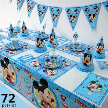 72pcs Luxury Disney Mickey Mouse Theme baby shower Kids Birthday Party Decoration Set Party Supplies Birthday Pack cupcake stand