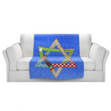 https://www.dianochedesigns.com/sherpa-pile-blankets-marley-ungaro-star-of-david-blue.html