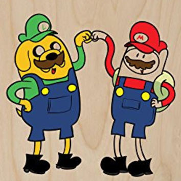 'Plumbing Time' Best Friend Main Characters Funny Video Game & TV Show Cartoon Parody - Plywood Wood Print Poster Wall Art