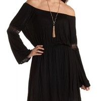 Crochet-Trim Bell Sleeve Dress by Charlotte Russe