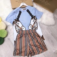 burberry Women Casual Short Sleeve Top Shorts Two-Piece