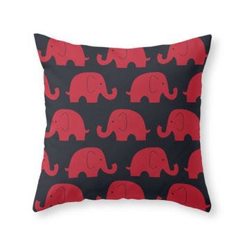 Society6 Elephants Red Throw Pillow