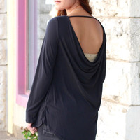 Super Soft Cowl Back Long Sleeve Basic {Black}