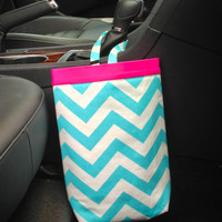 Car Trash Bag CHEVRON AQUA/White, Women, Car Litter Bag, Auto Accessories, Auto Bag, Car Organizer