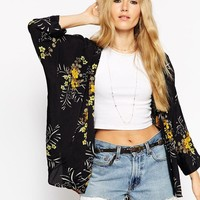 ASOS | ASOS Kimono in Vintage Yellow Floral Print at ASOS