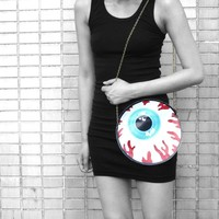 Round Human Eyeball Anatomy Shaped Vinyl Cross Body Shoulder Bag | Handmade