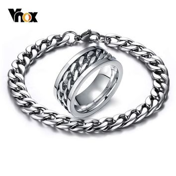 VNOX Never Fade Mens Relieve Stress Stainless Steel Jewelry Sets Silver Color Spinner Cuban Chain Ring Bracelet Gifts for Him