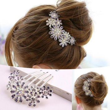 Crystal Rhinestone Decorate Petal Tuck Hair Comb Flower Pin Hair Clip