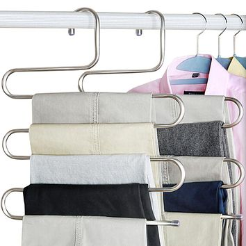 Magic Hanger Multi-purpose 5-Layers Clothes Rack Stainless Steel Pants Trousers Hanger Tie Closet Holder Organizer