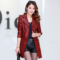 2 Ways to wear faux fur collar imitation sheep skin leather jacket women good quality leather jacket with detachable bottom part