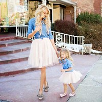 Mommy + Me matching Denim Tutu Skirt Dress