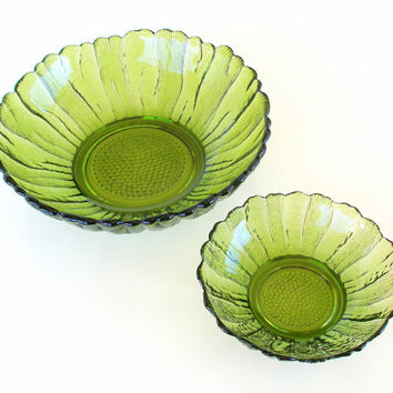 Vintage Serving Bowls Indiana Glass Avocado Green Bowls Sunflower Set of 2